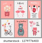 collection of pink love card... | Shutterstock .eps vector #1279776403
