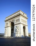 vertical view of famous arc de... | Shutterstock . vector #127979324