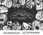 lavender latte illustration ... | Shutterstock .eps vector #1279795999