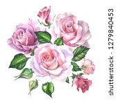 watercolor bouquet with pink... | Shutterstock . vector #1279840453