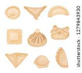 flat vector set of dumplings of ... | Shutterstock .eps vector #1279843930