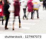 busy city street people on...   Shutterstock . vector #127987073