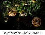 fir branch with balls and... | Shutterstock . vector #1279876840