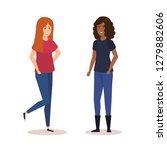 couple of girls avatars...   Shutterstock .eps vector #1279882606