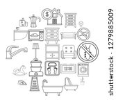 comfortable house icons set.... | Shutterstock .eps vector #1279885009