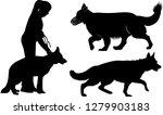 Stock vector set of dog silhouettes german shepherd dogs 1279903183