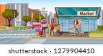 family shopping flat vector... | Shutterstock .eps vector #1279904410