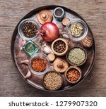 variety of spices and herbs on... | Shutterstock . vector #1279907320