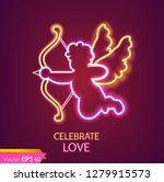 Cupid Card Neon Light Vector...