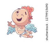 Stock vector funny little cupid illustration of a valentine s day amur baby angel vector illustration in a 1279915690