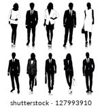 collection of people silhouettes | Shutterstock .eps vector #127993910