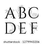 hand drawn alphabet with floral ... | Shutterstock .eps vector #1279943206
