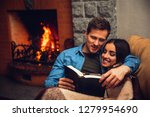 positive and cheerful couple... | Shutterstock . vector #1279954690