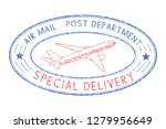 oval postmark with plane. blue... | Shutterstock . vector #1279956649