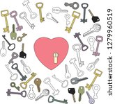 heart with keyhole and lots of... | Shutterstock . vector #1279960519