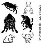 set of black silhouette on bull   Shutterstock .eps vector #127996223