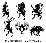 set of black silhouette on... | Shutterstock .eps vector #127996250