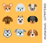 cute dogs on yellow background. ...   Shutterstock .eps vector #1279975303