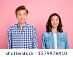 Stock photo portrait of nice sweet charming lovely attractive cheerful cheery positive confused flirty couple 1279976410