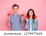Stock photo portrait of nice lovely sweet attractive cheerful positive shy couple married spouses family 1279977649