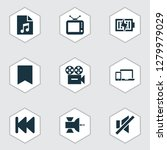 multimedia icons set with... | Shutterstock .eps vector #1279979029
