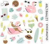 cute summer seamless pattern...   Shutterstock .eps vector #1279981789