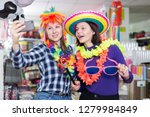 two cheerful young female... | Shutterstock . vector #1279984849
