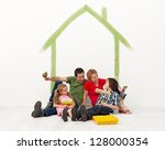 Family repainting their homewith the kids - concept - stock photo