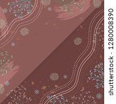 abstract silk scarf with floral ... | Shutterstock .eps vector #1280008390