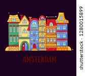 amsterdam doodle cartoon houses ...   Shutterstock .eps vector #1280015899