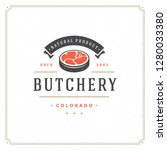 butcher shop logo vector... | Shutterstock .eps vector #1280033380