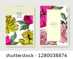 vector pink and yellow peony.... | Shutterstock .eps vector #1280038876