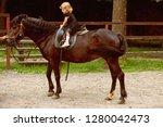 girl ride on horse on summer... | Shutterstock . vector #1280042473