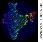 bright rainbow mesh vector map... | Shutterstock .eps vector #1280047330