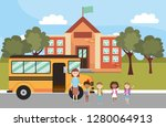 elementary school cartoon | Shutterstock .eps vector #1280064913