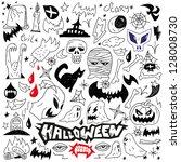 halloween   evil   monsters  ... | Shutterstock .eps vector #128008730
