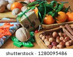 nuts  tangerines and new year's ... | Shutterstock . vector #1280095486