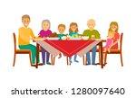 christmas dinner of big family...   Shutterstock .eps vector #1280097640