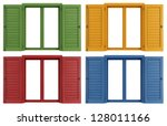 set of colorful windows... | Shutterstock . vector #128011166