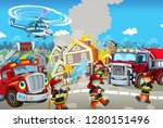 cartoon happy and funny city... | Shutterstock . vector #1280151496