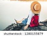 female tourists in beautiful... | Shutterstock . vector #1280155879
