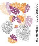 vector tropical pattern with... | Shutterstock .eps vector #1280158030