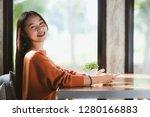 closeup of beautiful asia woman ...   Shutterstock . vector #1280166883