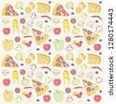 pizza seamless pattern | Shutterstock . vector #1280174443