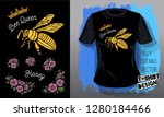 honey bee golden embroidery... | Shutterstock .eps vector #1280184466