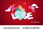 valentines day card with couple ...   Shutterstock .eps vector #1280216896
