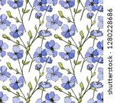 vector blue flax. floral... | Shutterstock .eps vector #1280228686