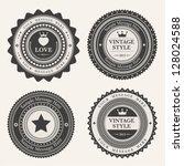 set of blank retro vintage... | Shutterstock .eps vector #128024588
