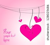 pink hanging hearts for... | Shutterstock .eps vector #128025686
