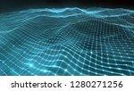 geometric wavy grid in a blue...   Shutterstock . vector #1280271256